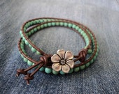 Brown Leather Wrap Bracelet with Turquoise Beads