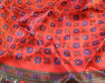 1980 Vintage Scarf with Vibrant Red, Blue and Green Colours