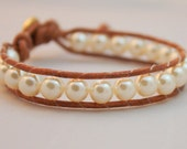 Pearl bracelet - beaded pearl wrap - single wrap bracelet - cream colored pearl wrap