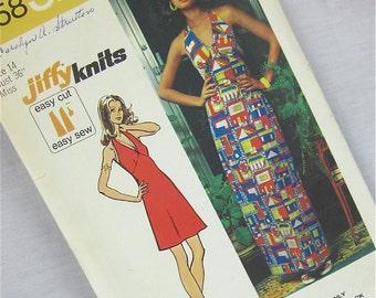 Vintage 70s Halter Dress Pattern for Knits, Simplicity, 5558