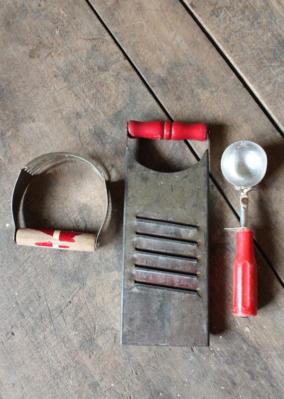 Vintage Red Handled Kitchen Tools Utensils