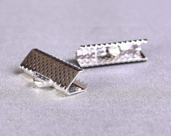 16mm x 6mm Ribbon ends silver tone (1032) - Flat rate shipping