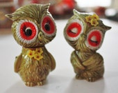Vintage Retro Colorful Owl Salt and Pepper Shakers