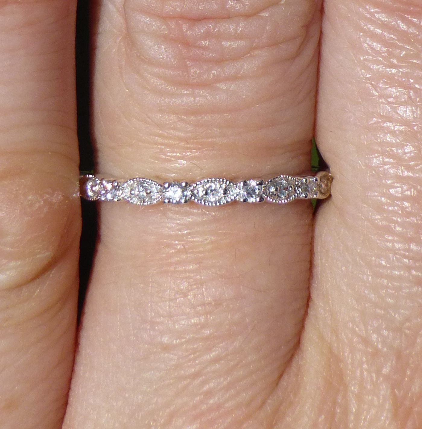 Stacker Bands: Vintage Stacker Band 14KT White Gold And Diamond Stacking