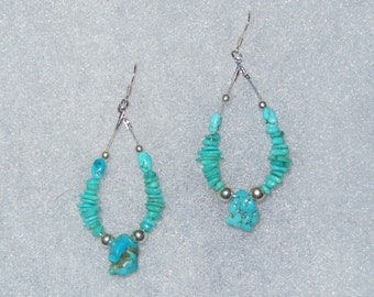 Turquoise Chips and Nuggets Hoop Earrings with Sterling Silver Beads and Ear Wires - Turquoise Dangle Hoop Earrings