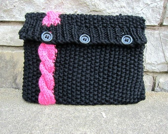 Knitted Laptop Sleeve Computer Cozy Electronic Case Black Pink Cable Knit With Buttons Gadget Accessories