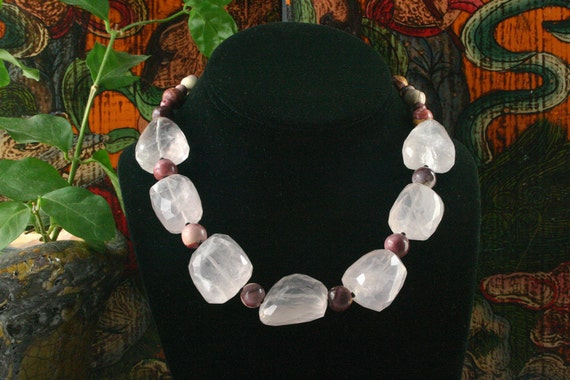 Rose Quartz Necklace, Australian Mookite Necklace, Ethnic Jewelry, Chunky Bead, Statement Necklace, Choker, Gemstone Necklace, Beadwork