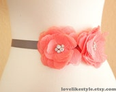 Jeweled Coral Chiffon Flower with Gray Grosgrain Sash , Bridal Sash, Bridesmaid Sash
