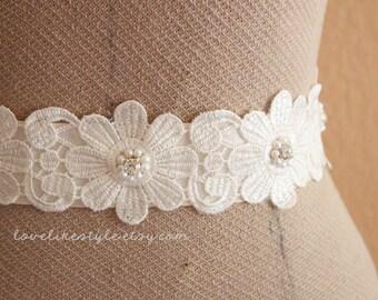 Ivory  Flower Venice Lace with Rhinestone and Pearl Beads Sash , Bridal Sash, Bridesmaid Sash / SH-30