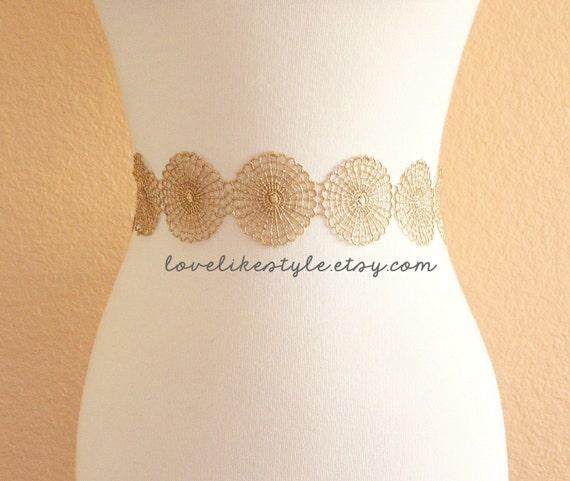 Metallic Doily Netting Gold Lace with Champagne Satin Ribbon Sash, Bridal Gold Sash, Bridesmaid Sash, Gold Lace Headband,GSH