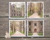 Kenyon College Coasters - Spring Campus - set of 4 ceramic coasters, kenyon college buildings, architecture, spring trees, efpteam, fpoe
