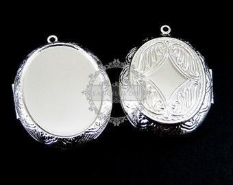 5pcs 30x40mm cabochon setting size vintage flower engraved brass silver oval photo locket 1122006