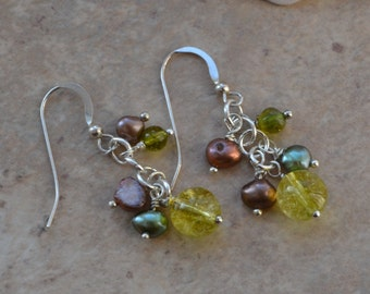 Peridot and Freshwater Cultured Pearl Cluster Drop Silver Earrings