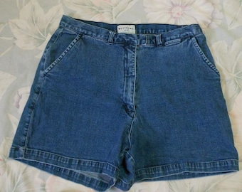 Womens Blue Jean Shorts-Size 12-High Waisted Shorts