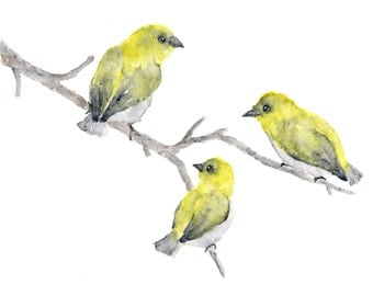 Watercolor bird painting, bird art, yellow birds, nature, abstract, finches, feathers, wildlife, yellow - 10X8