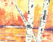 Giclee Art Print, Fall Birch Trees, Watercolor Painting, Orange, Fall Decor, Birch Tree Painting