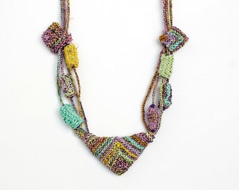 Knitted geometric necklace with bamboo beads, pastel colors, OOAK