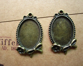 10pcs 25x18mm antique bronze cabochon pendant settings R27123