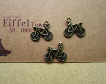 50pcs 15x13mm antique bronze  bicycle bike charms pendant C3548