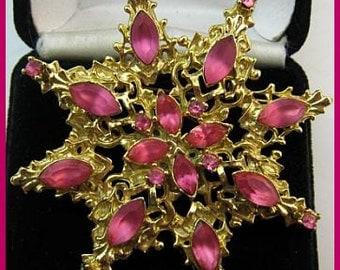 "Vintage Pink Rhinestone Brooch Pin Star Burst Gold Metal Filigree BIG 2.5"" VG"