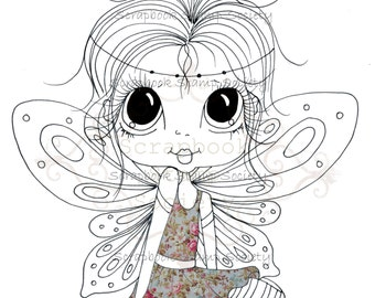 INSTANT DOWNLOAD Digital Digi Stamps Big Eye Big Head Dolls Digi  My Besties Cute Little One Fairy Partly Pre Colored Digi  By Sherri Baldy