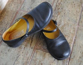 Flat Ballerina Mary Jane Black Leather Spanish Camper Merceditas