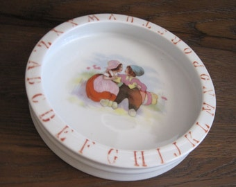 Antique German Porcelain Alphabet Children's Bowl