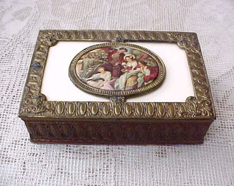 Charming Vintage Wood Lined Cigarette Box with Celluloid Decorative Center-French Courtesans