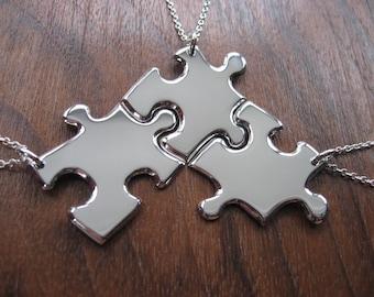 Three Best Friend Silver Puzzle Pendant Necklaces