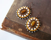 Embroidery Earrings Tigers eye Earrings Beadwork earrings Bead embroidery jewelry Brown Yellow White Earrings MADE TO ORDER