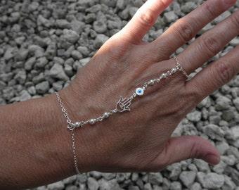 Hamsa hand and evil eye slave bracelet sterling silver