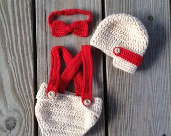 Instant DownloadPDF Newsboy hat - diaper cover - Bow tie - crochet pattern - photo prop