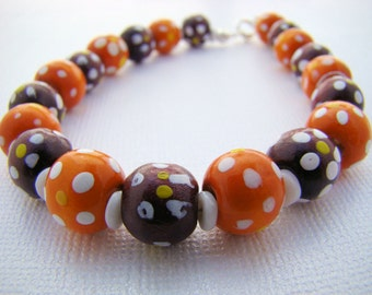 Bracelet, Wooden Beads in Orange and Dark Purple