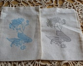 Set of 10 Hand stamped Mermaid Muslin Party Favor Bags 100% organic made in america
