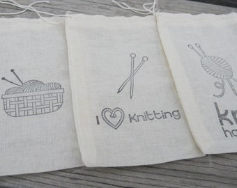 Set of 12 Hand stamped  Knit Knitting Yarn Craft Bag Muslin Party Favor Bags 100% organic made in america