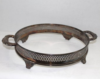 "Silver Plate Vintage Chafing Dish Casserole Dish Holder 10"" Diameter"