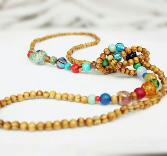 Long wooden bead necklace, knotted rope necklace, blue, green, turquoise, red, boho, summer.
