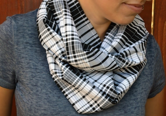 Summer infinity scarf, cowl, neck tie, summer fashion in black and white plaid