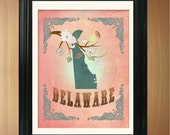 Delaware State Map Art - 8.5X11 Ornate Birds Love Map Giclee Print - Tree Flowers & Bird - Fragrant Peach LHA-094-05-08