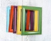 Colorful SHABBY CHIC Painted Frames, Upcycled Frame Set of 5 - HuckleberryVntg