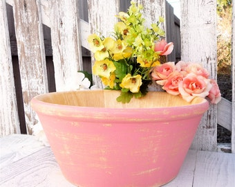 Pink SHABBY CHIC Bamboo Wood Bowl