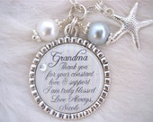 GRANDMOTHER of the BRIDE Grandmother of the Groom Gift Inspirational quote necklace Beach Jewelry Love and Support Wedding Beautiful quote