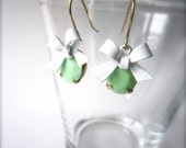 Mint green and white earrings