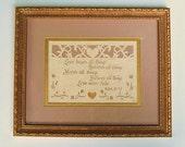 WEDDING GIFT PAPERCUT - Framed & Signed Scherenschnitte - Biblical Passage on Love From I Corinthians