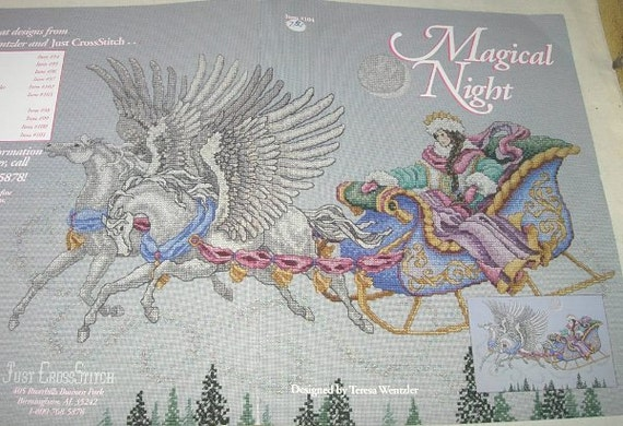 Magical Night Cross Stitch Embroidery Pattern Mythical Winter Snow ...