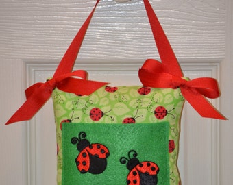 SALE Toothfairy Pillow with Little Lady Bugs