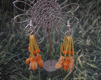 Pierced Earrings Orange Gum Ball Charms and Yellow Paper Clips