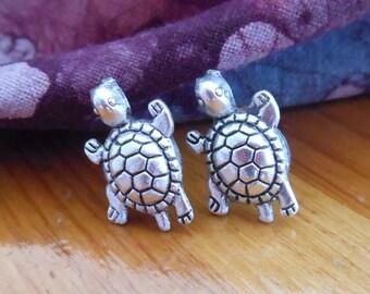Silver Turtle Earrings - Turtle Stud Earrings - Silver Stud Earrings, Turtle Post Earrings