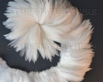 Wholesale / bulk feathers - White / Off White rooster hackle feathers strung, real feathers for wedding, millinery, crafts / FB130-4