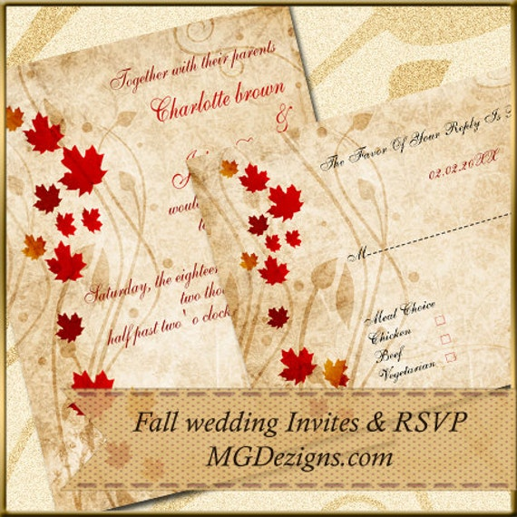 Elegant Fall Color Wedding Inviation: Printable Rustic Fall Leaves Fall Wedding Invitations By